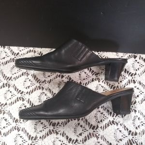 Black Sesto Meucci Italian Leather Mules/Heels sz7